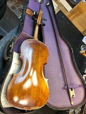 Old 4/4 Violin, Repair - For Parts Vintage One Piece Back.