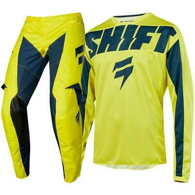 Shift 2019 WHIT3 York Jersey Pants Adult Motocross Gear Set - Yellow/Navy