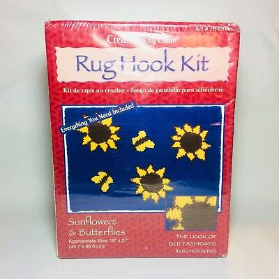 "Sealed Caron Rug Hook Kit ""Sunflowers & Butterflies"" 18"" X 27"" Rug Tool Included"