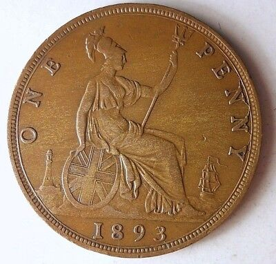 1893 GREAT BRITAIN PENNY - SCARCE DATE - High Quality Vintage Coin - Lot #D4