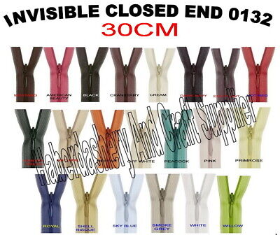 Birch Closed End Invisible Zipper/Zip*Pick 1 Color From List *Size 30Cm 12""
