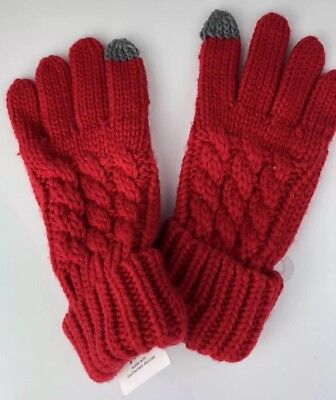 Gap Women's Gloves, red with grey trim, one size fits all, acrylic, NWT