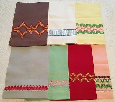 "Lot Of 7 Vintage Swedish Huck Weave Decorated Tea Towels 16X23"" Multi-colored"