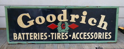 """Early Goodrich Batteries Tires Accessories Embossed Tin Sign Gas Oil 60"""" x 20"""""""