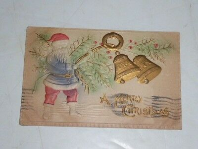 vtg A MERRY CHRISTMAS used POSTCARD santa bells 1912 1 cent stamp bucyrus ohio