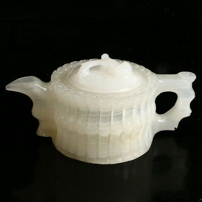 100% Natural White Jade Teapot Hand Carved Bamboo Shape MF94