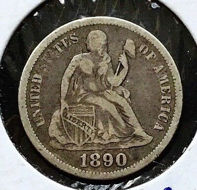 1890 10c Seated Liberty SILVER Dime coin Var. 5