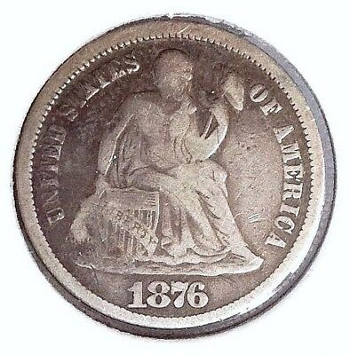 1876 10c Seated Liberty SILVER Dime Var. 5