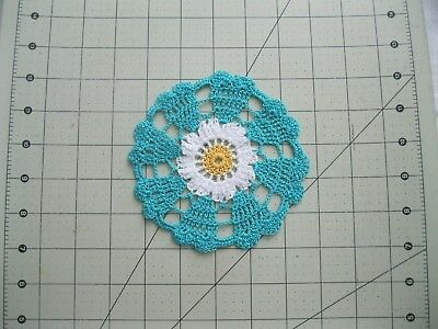 """2 Crochet Small Doilies  5"""" Turquoise  ( Free Shipping )"""