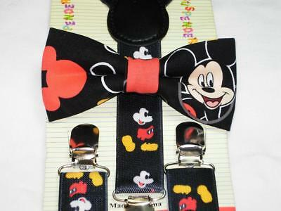 Mickey Mouse Bow tie & Matching Suspenders / Pre-tied Bow tie / Boys 6mo to 6yrs