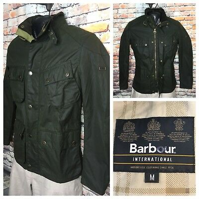 Barbour International Green Waxed Cotton Raceway Mens Jacket $450 Medium