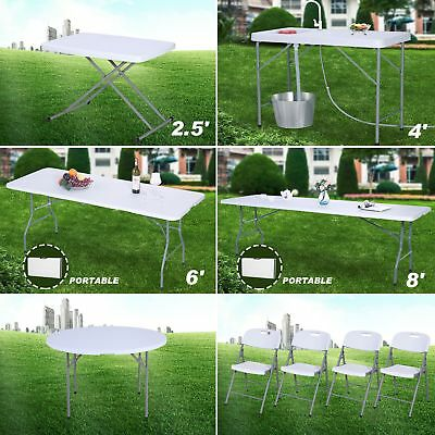 2.5/6/8ft Portable Folding Plastic Dining Table/Chair Indoor Outdoor Camp Picnic
