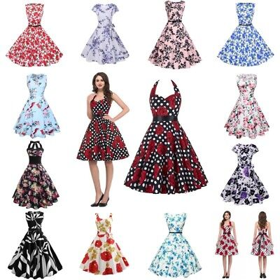 Women Vintage Prom Ball Gown Floral Party Dress Retro Swing Maxi Dress Sundress