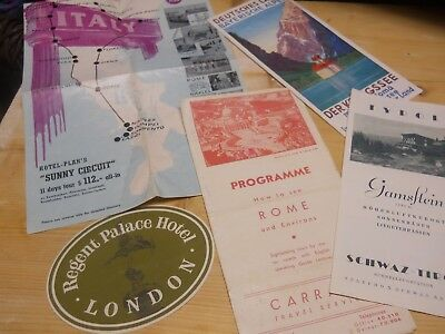 Vintage Travel Brochure Lot - Italy Rome Germany plus London Hotel Luggage Label