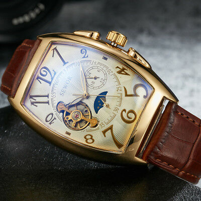 Men's Luxury Self-wind Mechanical Stainless Steel Leather Wrist Watch Gift Box