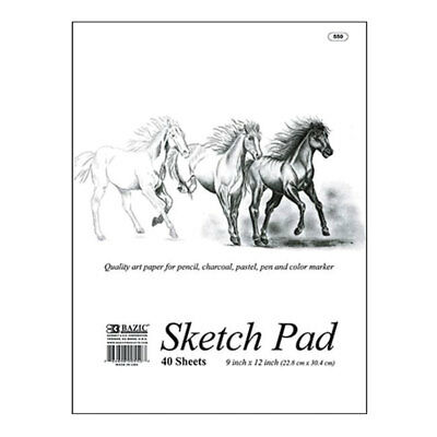 "BAZIC 40 Sheets 9""X12"" Premium Quality Sketch Pad Painting Drawing Book Paper"