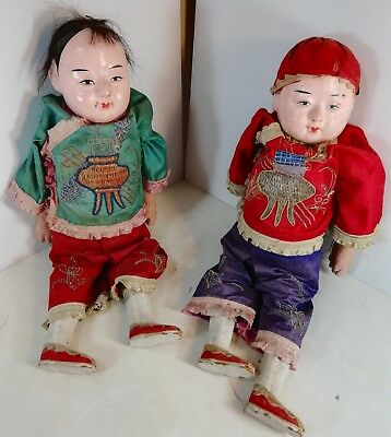 2 Antique Chinese Dolls: Boy and Girl with Embroidered Silk Costumes
