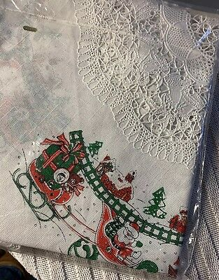 """Vintage Christmas Scalloped Edge Lace Vinyl Table Cover Or Tree Skirt 36"""" sealed"""