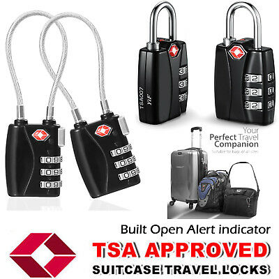 Travel TSA Security Cable Code Locks Alloy Body with 3 Digit Combination lot