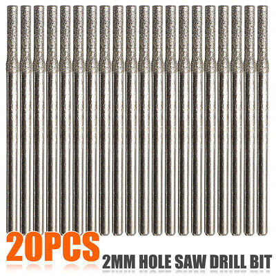 20Pcs 2mm Diamond Coated Hole Saw Solid Drill Bit For glass,marble,tile,jade