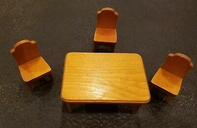 Vintage Dollhouse Wood Kitchen Table and 3 Chairs - Strombecker?  (1218)