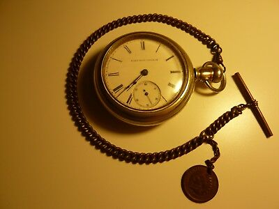 Vintage Antique Elgin National Watch Co Size 18s Pocket Watch 1882! Runs Strong!