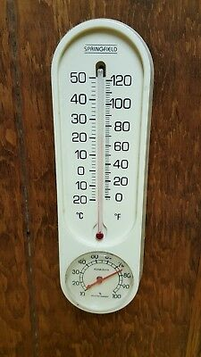 """Vintage Springfield Banjo Style Weather Station Thermometer Relative Humidity 9"""""""