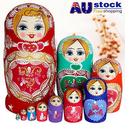 10Pcs Cute Babushka Nesting Dolls Matryoshka Wooden Russian Painted Doll Toys AU