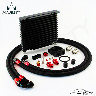 15 Row AN10 Oil Cooler 260x203x32mm + Thermostat Filter Adapter Hose End Kit