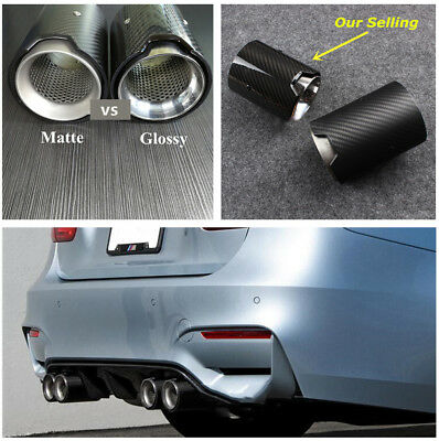 2.7'' Glossy Carbon Fiber&Stainless Steel Car Exhaust End Tail Pipe Tips for BMW