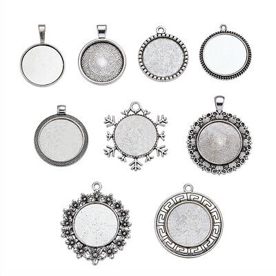 250g Antique Silver Plated Mixed Shape Alloy Pendant Cabochon Settings Jewelry