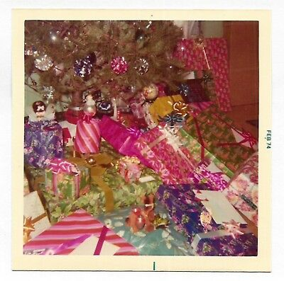 Square Vintage 70s Photo Group Colorful Wrapped Christmas Presents