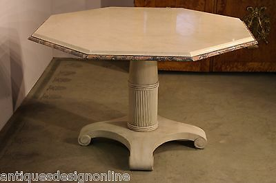 Vintage Art Deco marble top dining table seats 8 carved Scandinavia painted base