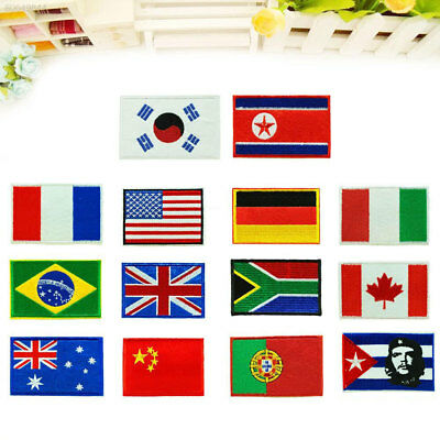 4A7F Nation Flag Emblem Non-Woven Patch Sewing Embroidered Sew Patches Art 9*6CM