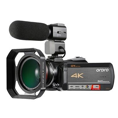 "Professionale 4K 12X Zoom 24MP Digitale Videocamera 3.1"" IPS Touch Screen"