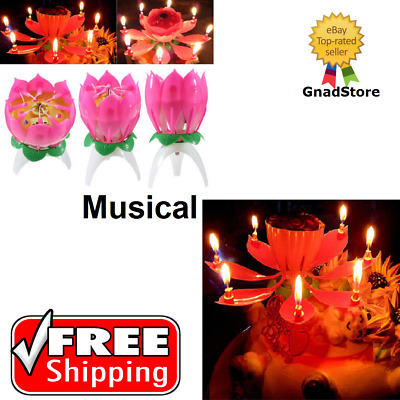 Birthday Candles Multi Color Musical Candle Lotus Rotating Play Music