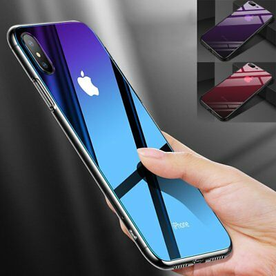 For iPhone 8 Plus 7 Plus X Ultra Slim Shockproof Hard Glass+ Silicone Case Cover