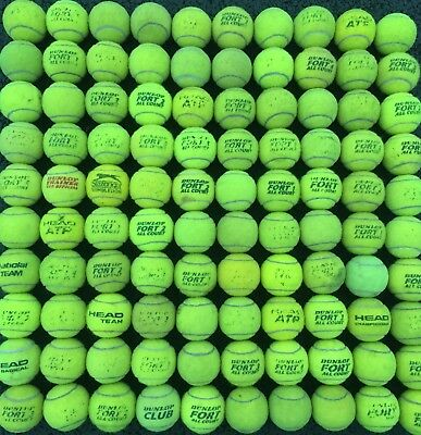 100 Mixed Used Tennis Balls Mostly Dunlop Fort All Court