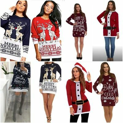 Womens Ladies Christmas Xmas Jumper Dress Sweater Tunic Festive Novelty Classic