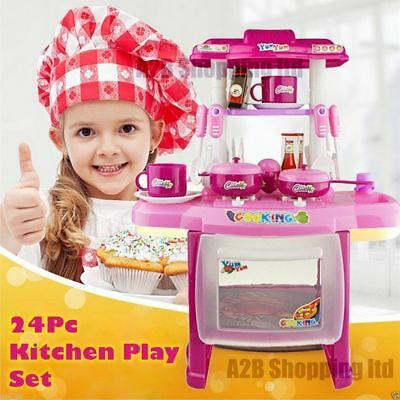 Pink Red Girl Kitchen Toys cooking kitchen Child Play Set Party Large Role Play