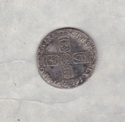 1697B William Iii Silver Sixpence In Used Fine Condition