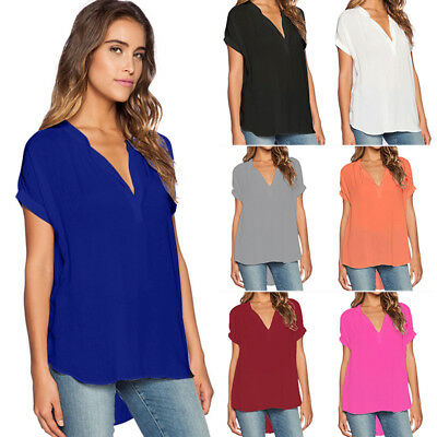 AU Womens Baggy Oversized Loose Turn up Batwing Short Sleeve V Neck Tops T Shirt