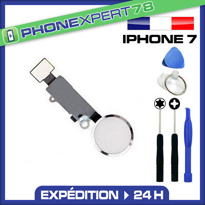 Bouton Home + Nappe Pour Iphone 7 Blanc Argent + Kit Outils