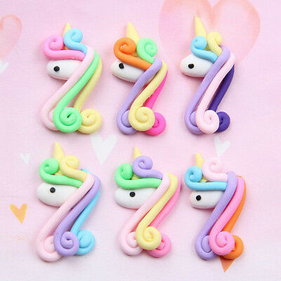2pcs Spiral Rainbow Polymer Clay Cabochons Flatback For DIY Phone DecorW