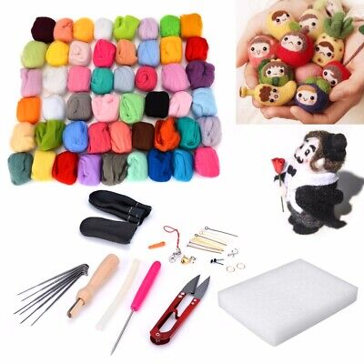 50 Colors Fibre Wool Yarn Roving Tool Set for Needle Felting Mat Starter Craft