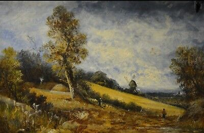 JOEL OWEN (FRANCIS E JAMIESON) landscape with a windmill, signed, oil on canvas