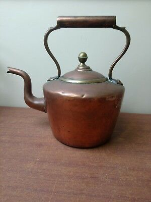"Large 19th Century Antique Copper Kettle  Excellent Condition HEAVY 11"" high"