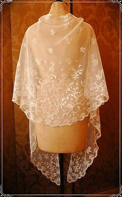 Exquisite VINTAGE ANTIQUE Honiton lace applique SHAWL COSTUME COLLECT DISPLAY