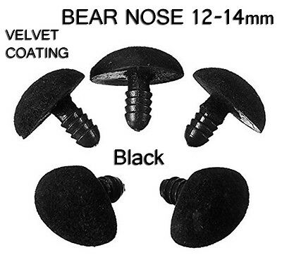 Safety Nose For Teddy Bear Soft Toy Making Crafts 12 x 14 mm ( x 5) BLACK