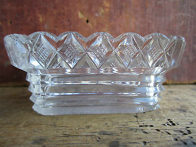 Antique Early Anglo-Irish Strawberry Diamond Cut Glass Open Table Salt 1820-1840